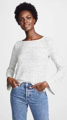 Three Dots Chunky Heather Thermal Top with Flare Sleeves