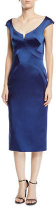 Zac Posen Scoop-Neck Cap-Sleeve Stretch-Faille Sheath Cocktail Dress