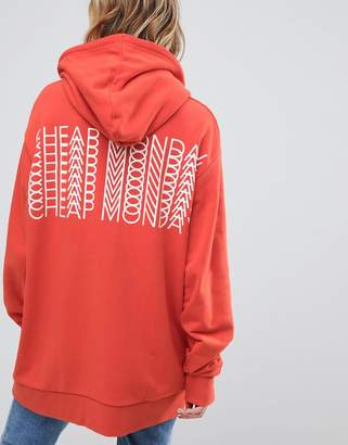 Cheap Monday Oversized Hoody With Repeat Back Logo