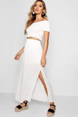boohoo Shirred Bardot Top Maxi Skirt Co-ord Set