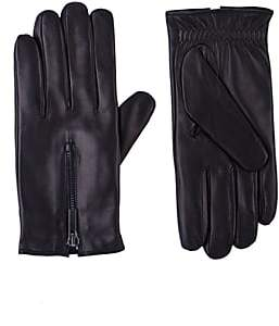 Barneys New York Men's Zip-Cuff Gloves - Black