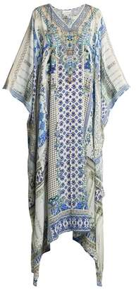 Camilla Salvador Summer V Neck Silk Kaftan - Womens - Blue Multi