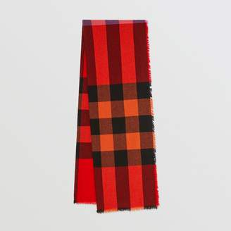 Burberry Fringed Check Wool Cashmere Scarf, Orange