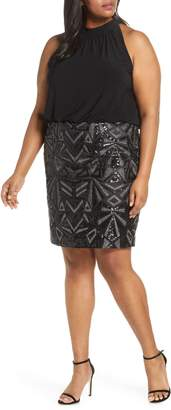 Vince Camuto Halter Neck Geo Embellished Blouson Dress