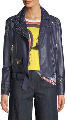 Moschino Studded Leather Motorcycle Jacket
