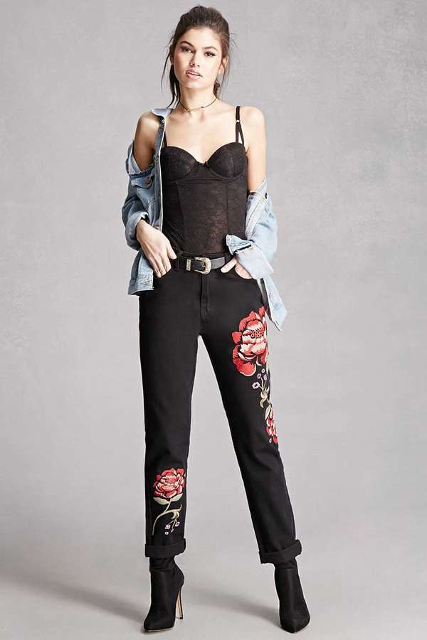 Forever 21FOREVER 21+ Pixie and Diamond Floral Jeans