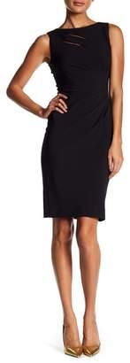 Tahari Ruched Sheath Front Slit Dress