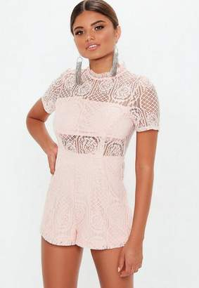 810606b5d23 at Missguided · Missguided Pink Short Sleeve Lace Playsuit