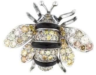18K Diamond, Sapphire & Onyx Bee Brooch