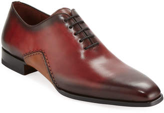 Magnanni Men's Two-Tone Lace-Up Sole-Stitch Dress Shoe