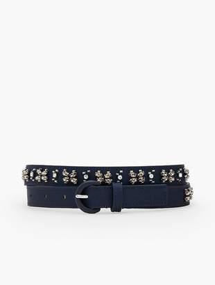 Talbots Crystal-Embellished Faille Belt