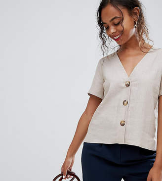 Asos Design Petite Boxy Top With Contrast Buttons