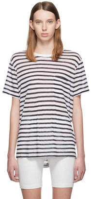 Alexander Wang White and Navy Striped Slub Pocket T-Shirt