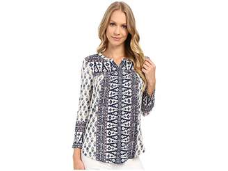 Lucky Brand Wood Block Printed Top Women's Clothing