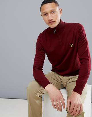 Lyle & Scott Golf Sands 1/4 zip merino knit sweater in burgundy