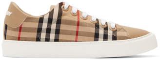 Burberry Beige Leather Monogram Albridge Sneakers