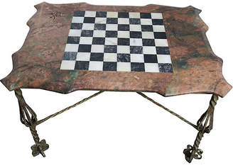One Kings Lane Vintage Iron & Marble Chess Board Top Table
