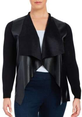 MICHAEL Michael Kors Plus Mixed Media Leatherette Cardigan