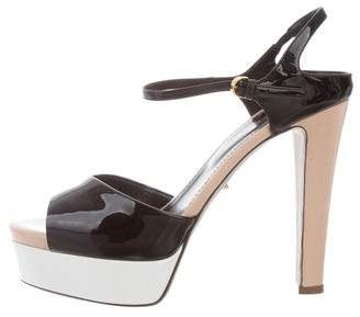 Sergio Rossi Patent Leather Platforms Sandals