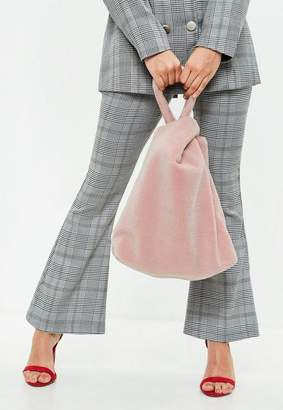 Missguided Pink Shearling Tote Bag