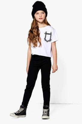 boohoo Girls Slogan Print Pocket Tee & Legging Set