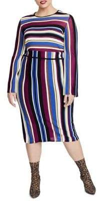 Rachel Roy Plus Metallic-Stripe Pencil Skirt