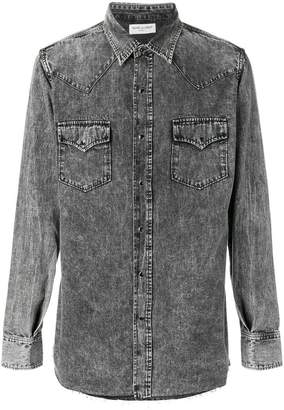 Saint Laurent acid wash denim shirt