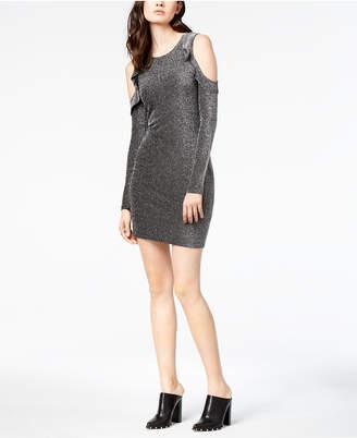 J.o.a. Metallic Cold-Shoulder Dress