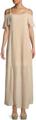 Moon River Cold-Shoulder Flutter-Sleeve Maxi Dress