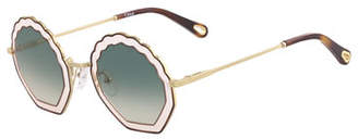 Chloé Tally Scalloped Round Gradient Sunglasses