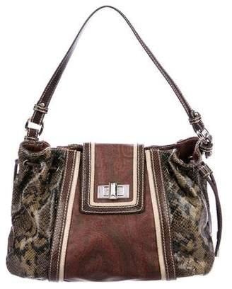 Etro Embossed Leather Hobo Bag