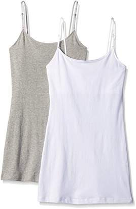 Pure Style Girlfriends Women's Long Cami Tank with Built in Bra & Adjustable Strap 2-Pack