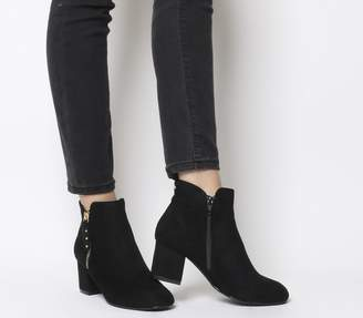 b6ee6ee0eeda Office Alicia Side Zip Boots Black Gold Studs