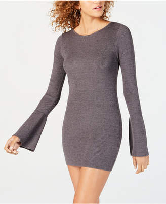 Material Girl Juniors' Shine Bell-Sleeved Sweater Dress