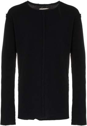 Greg Lauren black waffle knit raw edge cotton top