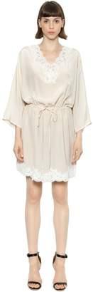 Ermanno Scervino Crepe De Chine Silk And Lace Mini Dress