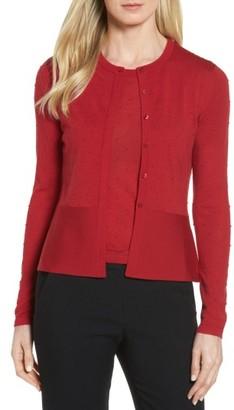 Women's Boss Faithe Wool Dot Jacquard Cardigan $255 thestylecure.com