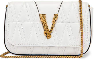 Versace Quilted Leather Tribute Rectangle Crossbody Bag in White & Gold | FWRD