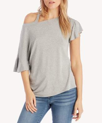 Sole Society Ruffle Sleeve Cut out Shoulder Knit Top