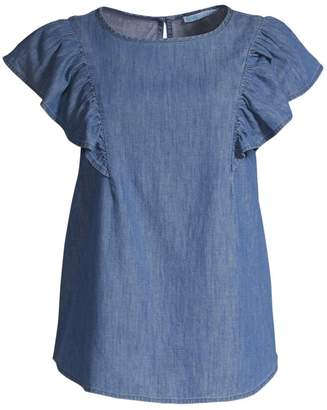 Draper James Cotton Chambray Flutter Sleeve Top