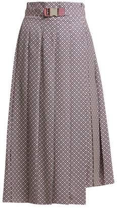 Fendi Asymmetric Pleated Ff Print Poplin Skirt - Womens - Blue Multi