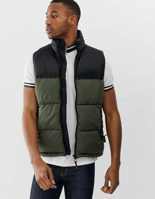 Bershka color block vest in khaki