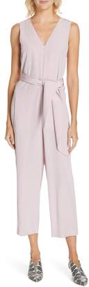 Tibi Belted Silk Jumpsuit