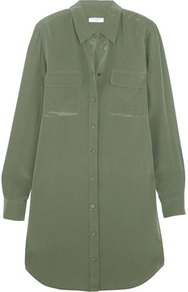 Equipment - Slim Signature Washed-silk Mini Shirt Dress - Army green $280 thestylecure.com