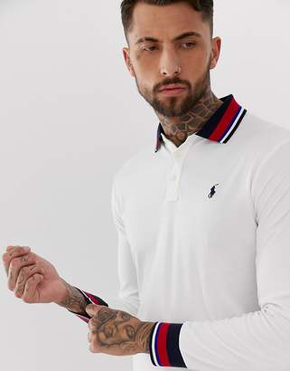 Polo Ralph Lauren long sleeve pima jersey polo with tipped collar in white