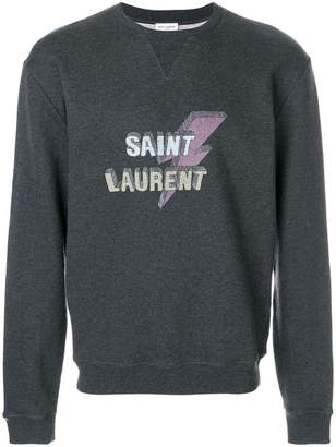 Saint Laurent lightning bolt logo sweatshirt