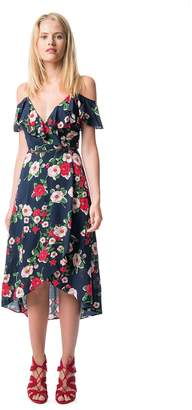 Best Mountain Cold Shoulder Floral Print Dress with Frill Detail