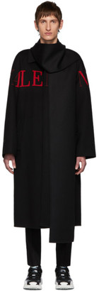 Valentino Black Wool Extended Collar Coat