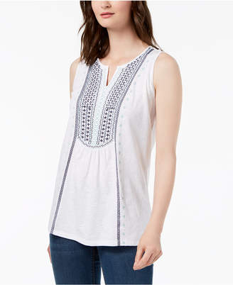 Charter Club Cotton Embroidered Tank Top, Created for Macy's
