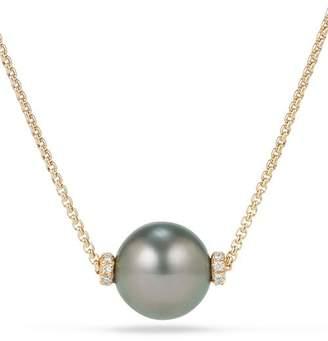 David Yurman Solari Single Station Necklace in 18K Gold with Diamonds and Tahitian Gray Pearl